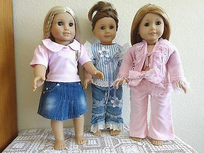 """NEW-DOLL CLOTHES:Pants/Skirt//Top [3 Sets] fit 18"""" Doll such as AG Doll-Lot #256"""