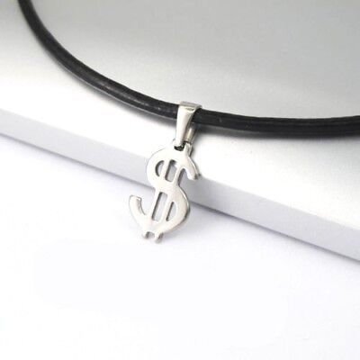 Silver Stainless Steel Money Symbol Pendant 3mm Black Leather Surfer Necklace