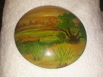 Awesome vintage Oregon Myrtlewood hand painted & signed by artist wood wall art