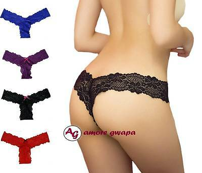 Ladies Lace Panties G string V-string Lingerie Underwear Bow Thong One size AU 8