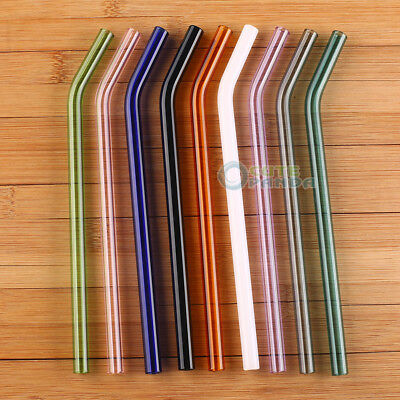 3pcs Bent Glass tube  Colorful  8mm Eco Friendly Pyrex Glass Drinking Straw 7""