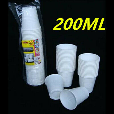 Bulk Buy White Disposable Plastic Drinking Cups Reusable 200Ml Party Restaurant