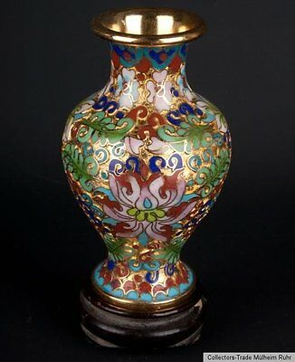 China 20 Jh. A Small Chinese Champleve Enamel Vase Vaso Cloisonne Cinese Chinois