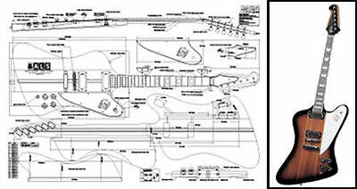gibson es 175 hollowbody electric acoustic guitar full scale plan full scale plans for gibson firebird electric guitar building
