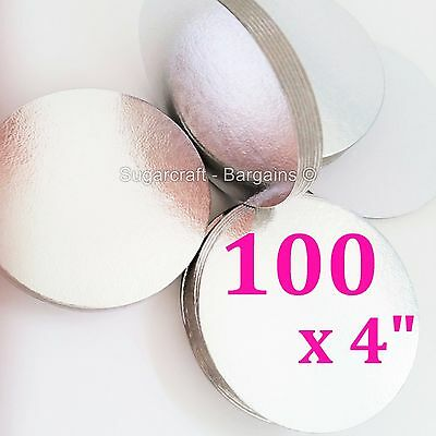 "100 x 4"" SILVER ROUND THIN CUT EDGE cake cupcake boards cards sugarcraft CULPITT"