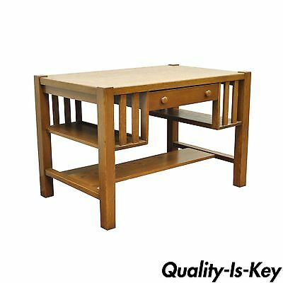 Antique Mission Arts and Crafts Oak Writing Library Desk Table Bookcase Sides