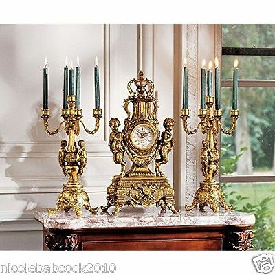 Royal Rocco Antique Style Grand Shelf Mantle Clock And Candelabra -30 Lbs Ttl