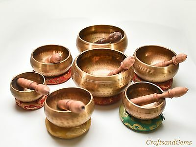 Nepalese Hand Made Seven Set Singing Bowl Amazing Sounds Meditaion Healing Bowls