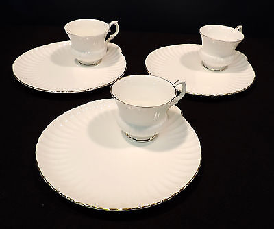 3 sets Crown Staffordshire BC luncheon plate & cup white gold trim A807 England