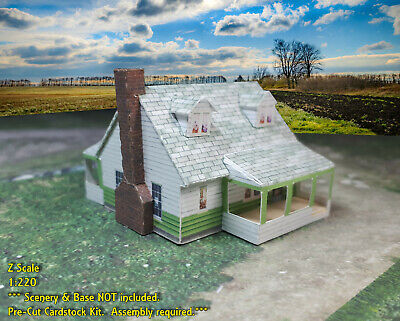 Z Scale Buildings 2 pcs - Card Stock Cape Cod Style or Wartime Houses ZP1