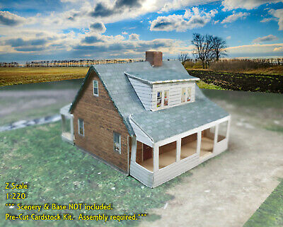 Z Scale Buildings 2 pcs - Card Stock Cape Cod Style or Wartime Houses ZP2
