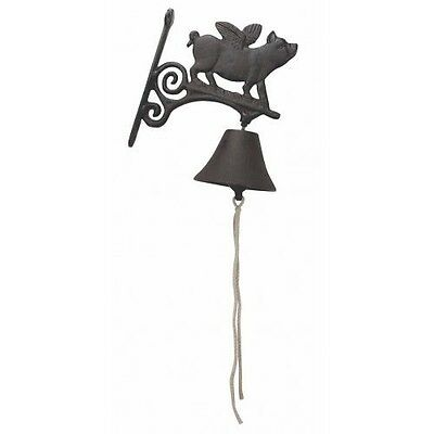 Vintage Style Cast Iron Hanging Flying Pig Bell Front Door Porch Outdoor Garden
