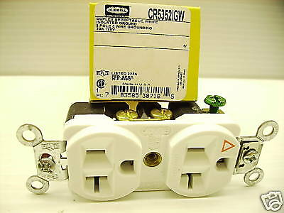 New Hubbell Cr5352Igw White Isolated Ground Receptacle 5-20R 20A Cr5352Ig Nib