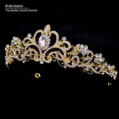 New Bride Tiaras for Wedding Women Gold Crystal Head Crown Hair Accessories