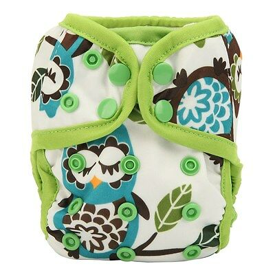 1 Owl NEWBORN Cloth Diaper Cover Baby Nappy Double Gusset 8lbs-10lbs