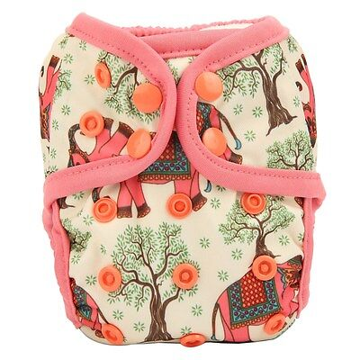 1 NEWBORN Cloth Diaper Cover Baby Nappy Double Gusset Elephant Tree 8lbs-10lbs