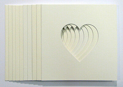 """Pack of 12 Heart Shaped Photo Mounts 5""""x5"""" to Fit  IKEA  23cm x 23cm  frames"""