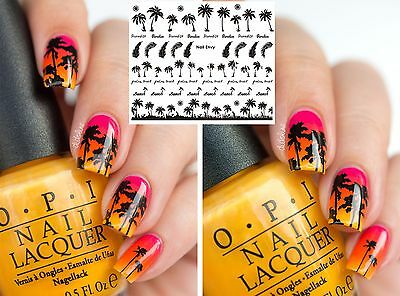 30 x Beach Palm Trees Nail Art Design Decals Water Transfers Stickers #157