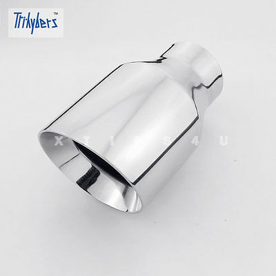 "2 1/2"" In 4"" Double Wall Out 7"" Long Round Slant Stainless Steel Exhaust Tip"