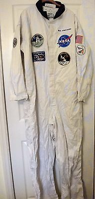 Neil Armstrong NASA United States White Overalls Jumpsuit wiith Patches SIZE 46