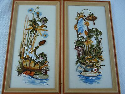 Adorable handmade pair framed 3D crewel embroidery funny frogs frog art