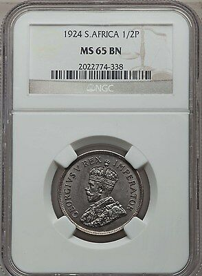 1924 South Africa 1/2 Penny NGC MS 65 Brown