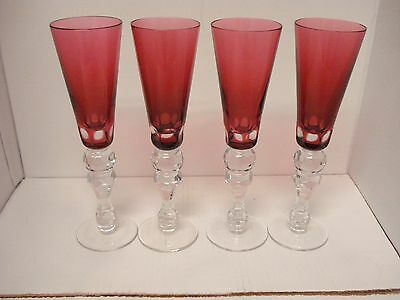 Set of 4 Elegant Crystal Champagne Flutes