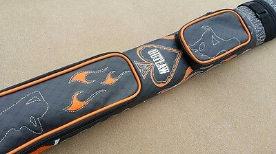 New Outlaw Hard 2x2 Pool Cue Case Stitched Ladies & Flames Soft Felt Lined Tubes
