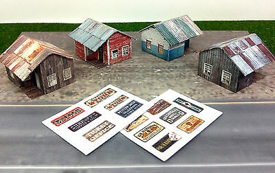 Z Scale Buildings - 4 pcs Small Weathered Buildings / Shanty - Cardstock kit set
