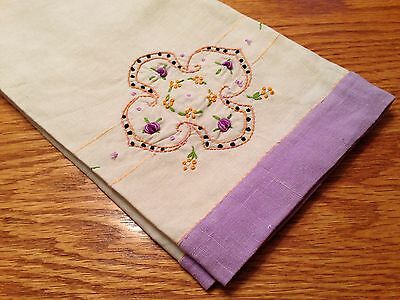 Vintage Exquisite HAND EMBROIDERED Tiny FLOWERS Linen Guest or Kitchen Towel