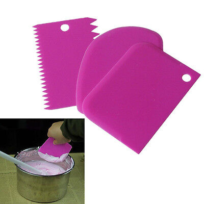 3× Plastic Scraper Cake Decor Plain Smooth Jagged Baking Icing Decoration Tool