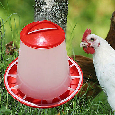 1.5kg Plastic Red Food Feeder Baby Chicken Chick Hen Poultry with Lid & Handle