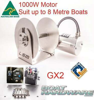 GX2 Lone Star 1000 Electric Drum Anchor Winch up to 8mtr Boat Fast Drop/Retrieve