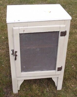 VICTORIAN TIN TOP ANTIQUE MEAT CABINET Side Table