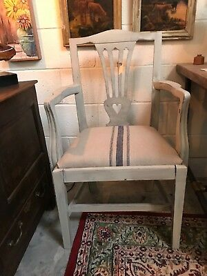 Edwardian Solid Mahogany Carver heart back Antique Chair