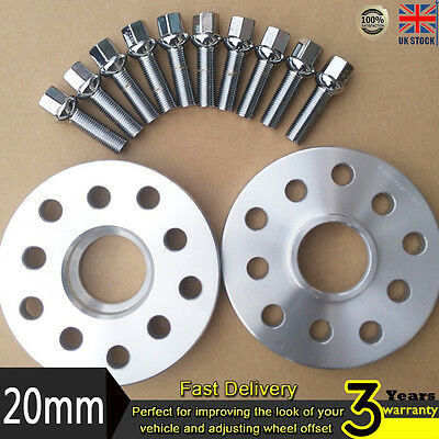 2x 20mm Alloy Wheel Spacers Spacer Kit5x100/112 57.1 + OE Bolts For VW Audi