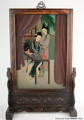 China 19. Jh. Glas Qing - A Chinese Reverse Painting on Glass - Cinese Chinoise