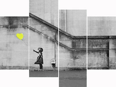 Banksy Yellow Balloon Girl Large 4 Panel Multi Set Canvas Pictures Wall Art