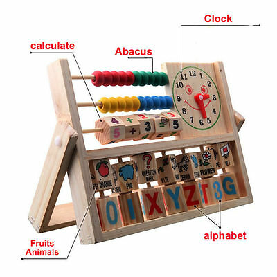 Wooden Abacus Toy Clock Maths Bead Number Counting Kids Educational Calculating