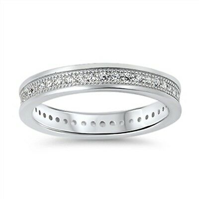 Ladies Sterling Silver Simulated Diamond Wedding Band Eternity Ring Size 10 T