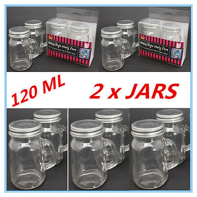 Twin Pack Mini Small Candy Lolly Mason Jars 120 Ml With Handle Silver Lid Party