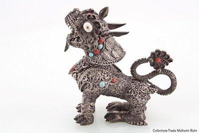 China 20. Jh. Chinese Silver / Metal Model Of A Lion Dog Scultura Cinese Chine