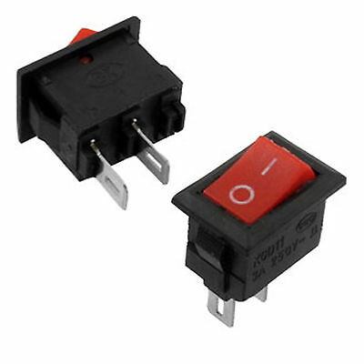 5pcs NEW Mini 2 Pins SPST On/Off Latching Red Button Rocker Switch AC 3A 250V