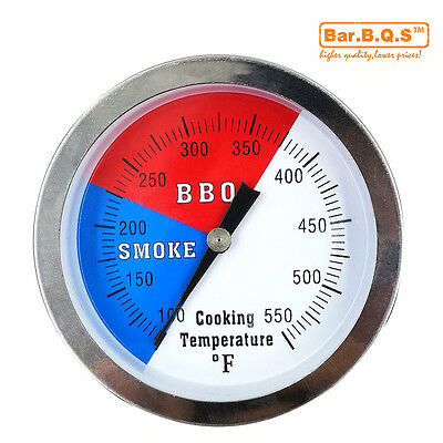 "BBQ 3"" Charcoal Grill Pit Wood Smoker Temp Gauge Thermometer Large Smoker"