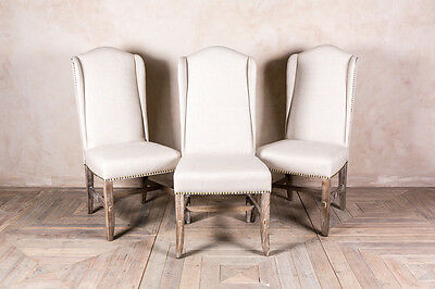Antique White Upholstered Dining Chair French Inspired Seating Studded Chair