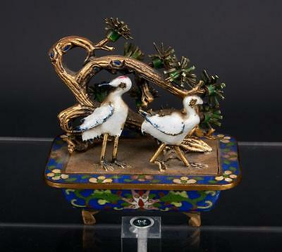 China 20. Jh A Chinese Cloisonne Enamel Jardinière Birds Scultura Cinese Chinois