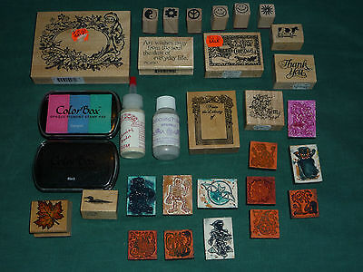 Lot of 27 Wooden & Foam Block Rubber Ink Stamps and Accessories Scrapbooking