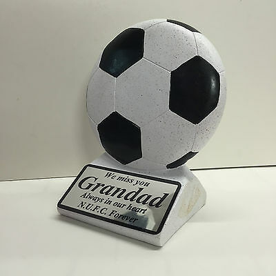 Personalised Football Memorial Black Ornament Any Text Grave Side Plaque