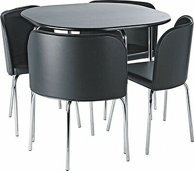 Black dining table 4 black chairs set small space saver for Small black dining table set