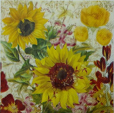SUNFLOWER  2 single LUNCH SIZE paper napkins for decoupage 3-ply